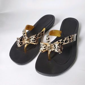 Guess Cheetah Thong Sandals Flip Flops Bow